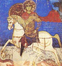 Άγιος Γεώργιος, 14ος αι. Παναγία της Ασίνου. Στην ασπίδα, αρχαίο βυζαντινό έμβλημα απεικονίζεται ως δυτικό οικόσημο.