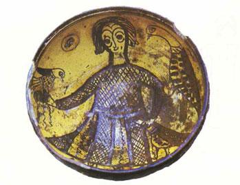 Κυνηγός γερακάρης, πρώιμος εγχάρακτος τύπος εμπλουτισμένος με καφέ χρώμα, 13ος αι. Ίδρυμα Πιερίδη.