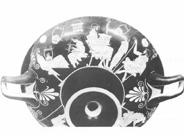 Σκηνή σε σχολείο. Κύλικα του ζωγράφου Δούριδος (480 π.Χ.). Μουσείο Βερολίνου.