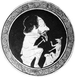 Ο Αίσωπος με την αλεπού. Κύλικα του 5ου αι. π.Χ.