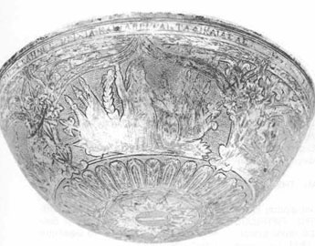 Απεικόνιση της Αθηνάς στο ασημένιο τάσι του Μακρυγιάννη, Εθνικό και Ιστορικό Μουσείο (αρ. 3730).