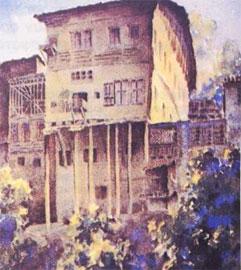 Βέροια, παλιά εβραϊκά σπίτια στην Μπαρμπούτα. Σχέδιο του Perilla, 1932.