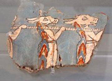 Δαίμονες μεταφέρουν το ανάφορο σε τοιχογραφία των Μυκηνών (1250-1200 π.Χ.). Εθνικό Αρχαιολογικό Μουσείο.