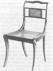 Καρέκλα «Trafalgar», 1805. Βασισμένη στη δομή της αρχαίας καρέκλας «κλισμός» (Λονδίνο, Μουσείο Victoria and Albert).