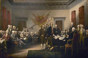Η πενταμελής επιτροπή, υπεύθυνη για τη Διακήρυξη της Ανεξαρτησίας, παρουσιάζει το Κείμενο στο Κονγκρέσο. Πίνακας του J. Trumbull