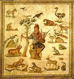 Ο Ορφέας μαγεύει τα ζώα με τη μουσική του. Ρωμαϊκό ψηφιδωτό της Αυτοκρατορίας, Αρχαιολογικό Μουσείο του Παλέρμο, Σικελία.