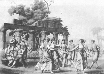 Χορός της Κρήτης. Χαλκογραφία επιχρωματισμένη από την έκδοση του Robustiano Gironi, Il costume dei Greci, Μιλάνο, 1819-1824.