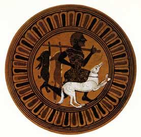 Ενυπόγραφη αθηναϊκή κύλικα με παράσταση κυνηγού από το Vulci (Ετρουρία), 550-525 π.Χ. Βρετανικό Μουσείο, Λονδίνο.