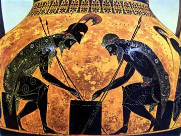 Αμφορέας του Εξηκία (530 π.Χ.) με τον Αίαντα και τον Αχιλλέα να παίζουν ζάρια.