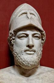 Μαρμάρινη προτομή του Περικλή με υπογραφή «Περικλής Ξανθίππου, Αθηναίος». Ρωμαϊκό αντίγραφο ελληνικού έργου του 430 π.Χ. περίπου