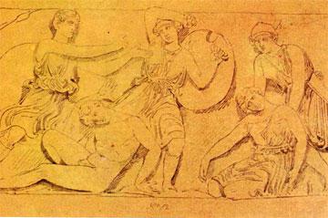 Σχέδιο του John Foster Jr. από τη ζωφόρο του ναού των Βασσών, τώρα στη Γεννάδειο Βιβλιοθήκη.