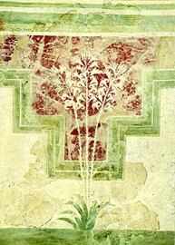 Τοιχογραφία με φυτικά κοσμήματα και κρίνους από την «Έπαυλη των Κρίνων» στην Αμνισό.
