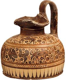 Μελανόμορφη κορινθιακή οινοχόη, στην τεχνοτροπία του Ζωγράφου του Dodwell. 600-575 π.Χ. Εθνικό Αρχαιολογικό Μουσείο, Α 00262.
