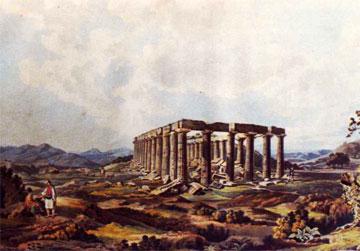 Ο ναός του Επικούριου Απόλλωνα από τα βορειοανατολικά. Dodwell, Views in Greece, London 1830.