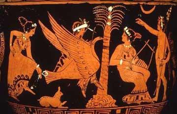 Ο Απόλλων πάνω σε κύκνο πλησιάζει τον ιερό φοίνικα της Δήλου. Ερυθρόμορφο αττικό αγγείο, 4ος αι. π.Χ. Λονδίνο, Βρετανικό Μουσείο