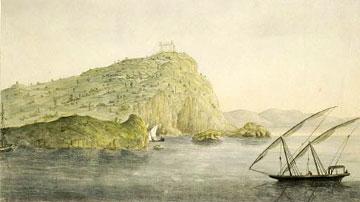 Ο ναός του Ποσειδώνα στο Σούνιο. Υδατογραφία του Sir William Gell (1774-1836). Μουσείο Μπενάκη, ΓΕ 22945.