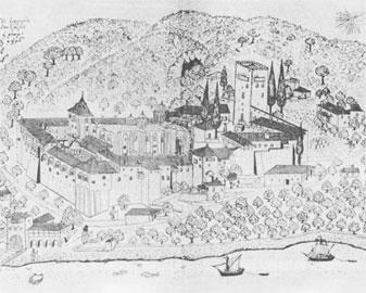 Άποψη της Μ. Δοχειαρίου, σχεδιασμένη στα 1744 από τον Barskij.
