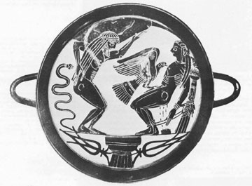 Προμηθέας και Άτλαντας πατούν στον κοσμικό κίονα. Λακωνική κύλικα, μέσα 6ου αι. π.Χ., Βατικανό.