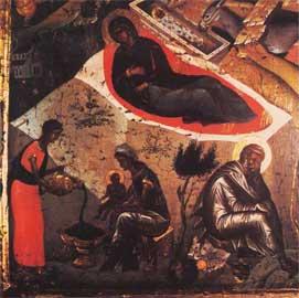 Λεπτομέρεια από τη Γέννηση, εικόνα Κρητικής σχολής. Βυζαντινό Μουσείο.