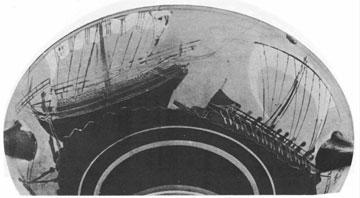 Πειρατικό καράβι κυνηγά ανύποπτο εμπορικό πλοίο. Κύλικα από το β΄ μισό του 6ου αι. π.Χ. (Βρετανικό Μουσείο).