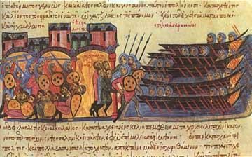 Ο στόλος των Αγαρηνών επιτίθεται κατά της Θεσσαλονίκης. Από τη χρονογραφία του Ιωάννη Σκυλίτζη. Εθνική Βιβλιοθήκη Μαδρίτης.
