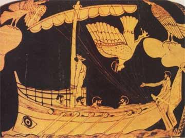 Δεμένος στο κατάρτι, ο Οδυσσέας ακούει ακίνδυνα το τραγούδι των Σειρήνων. Αγγείο, Βρετανικό Μουσείο.