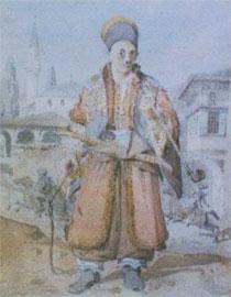 Τούρκος τάταρης, φρουρός των Εγγλέζων ξένων του Αλή Πασά. C.R. Cockerell, υδατογραφία 21x16 εκ.
