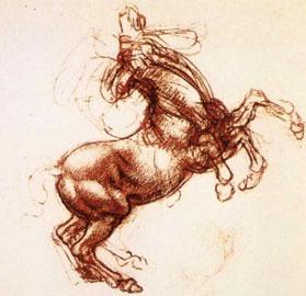 Λεονάρντο ντα Βίντσι, προφουτουριστική απόδοση της κίνησης αφηνιασμένου αλόγου (Πύργος του Γουίντσορ, Αγγλία).