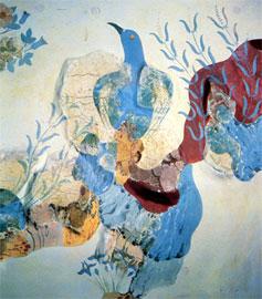 Στο «Σπίτι των τοιχογραφιών» της Κνωσού το «γαλάζιο πουλί» φωλιάζει ανάμεσα σε βράχια, άγρια ρόδα και ίριδες. 1500 π.Χ. περίπου.
