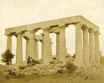 Ο ναός της Αφαίας στην Αίγινα. Φωτογραφία του James Robertson, 1853-1854. Μουσείο Μπενάκη, Φωτογραφικό Αρχείο.