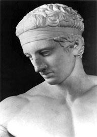 Αθλητής δένει στο κεφάλι του την ταινία της νίκης. Διαδούμενος, αντίγραφο (100 π.Χ.) από έργο του Πολύκλειτου (450-425 π.Χ.).