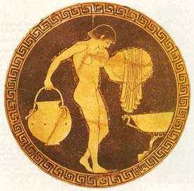 Νεαρή γυναίκα στο λουτρό. Αθηναϊκή κύλικα των αρχών του 5ου αιώνα.