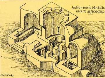 Προοπτική αναπαράσταση του μοναστηριακού λουτρού (11ου αι.) της Ι.Μ. Ζωοδόχου Πηγής του Δερβενοδάλεσι (Α. Ορλάνδος).