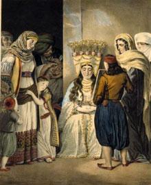 Η «Αθηναία νύφη» του Louis Dupré (1789-1837). Λιθογραφία, Παρίσι 1825. Μουσείο Μπενάκη, ΓΕ 25188.