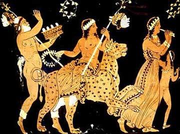 Ο Διόνυσος πάνω σε πάνθηρα με τη συνοδεία Σειληνού, Μαινάδας και Σατυρίσκου, 370-360 π.Χ. περίπου. Μουσείο του Λούβρου.