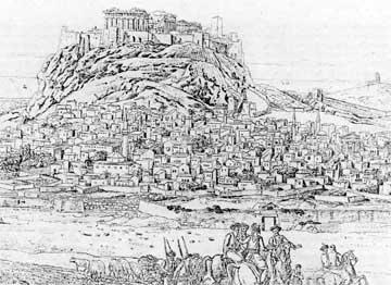 Κεντρικό τμήμα του μεγάλου πανοράματος της Αθήνας, ζωγραφισμένο επί τόπου το 1785 από τον Jean-François Cassas.