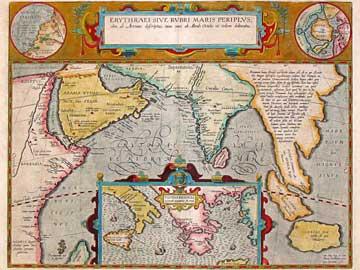 Χάρτης του Abraham Ortelius (1527-1598) για τον «Περίπλου της Ερυθράς θαλάσσης» που αποδίδεται στον Αρριανό.