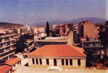 Άργος, το σχολείο και η αυλή του (Αύγουστος 1989). Άποψη από το Νότο.