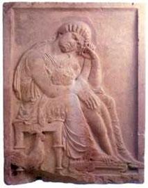 Πύδνα. Επιτύμβια στήλη, 5ος αι. π.Χ.