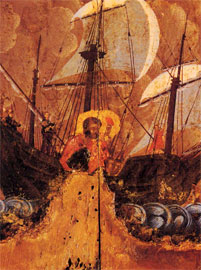 Λεπτομέρεια από το βίο του Αγ. Ευσταθίου. Βυζαντινή εικόνα του 1620-1640, Πάτμος (Εκδ. Αθηνών).