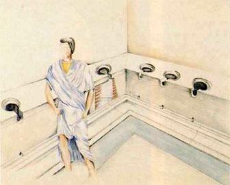 Αναπαράσταση των βεσπασιανών στην είσοδο των θερμών του Δίου.