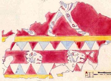 Σπάραγμα ζωγραφιστής ζωφόρου με πομπή λιονταριών από το μακεδονικό τάφο Ι του Δίου. Τέλος 4ου αι. π.Χ.