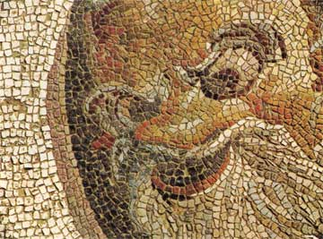 Πίνακας με θεατρική μάσκα. Ψηφιδωτό δάπεδο αίθουσας συμποσίων με τη θριαμβική επιφάνεια του Διονύσου, γύρω στο 200 μ.Χ.