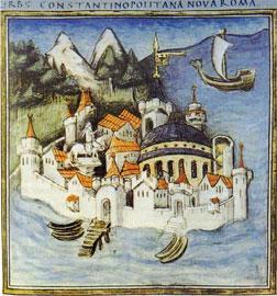 Η Κωνσταντινούπολη από χειρόγραφο του 15ου αιώνα.