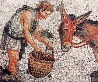 Νεαρός με το γάιδαρό του από μωσαϊκό του Μεγάλου Παλατίου της Κωνσταντινούπολης.