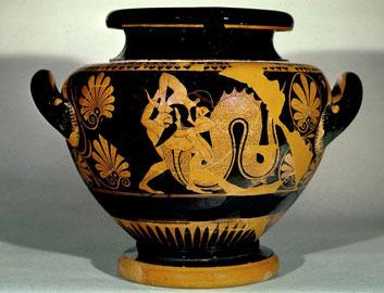 Η πάλη του Ηρακλή με τον ποταμό Αχελώο σε αττικό ερυθρόμορφο στάμνο. Περ. 530-500 π.Χ. Λονδίνο, Βρετανικό Μουσείο.