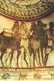 Τα άλογα του ευγενούς – λεπτομέρεια από την παράσταση της νεκρικής γιορτής στο θόλο του νεκρικού δωματίου.