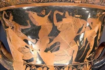 Καλυκωτός κρατήρας του αγγειογράφου Ευφρονίου και του κεραμέα Ευξιθέου, περ. 510-500 π.Χ. Παρίσι, Μουσείο του Λούβρου.