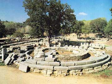 Άποψη του Φιλιππείου στον αρχαιολογικό χώρο της Ολυμπίας.