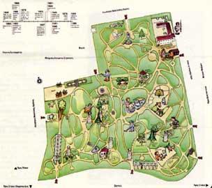 Ο χάρτης του Εθνικού Κήπου παρουσιάζει τα ενδιαφέροντα σημεία του και επισημαίνει τις σημαντικές χρονιές της ζωής του.